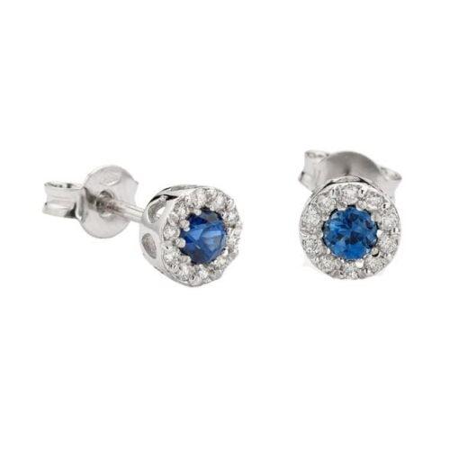 orecchini zaffiri tondi e diamanti namuri