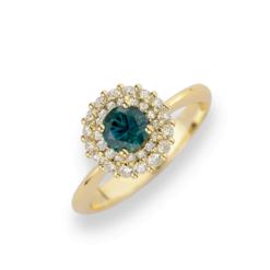 Smeraldo Anello in Oro Giallo (Gr. 4,00) Con doppio giro Diamanti Ct.0,40 e Smeraldo ricostruito Round Cut Ct. 0,50.