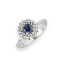 anello zaffiro tondo e contorno di diamanti Namuri