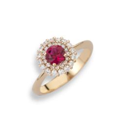 anello oro rosa rubino tondo namuri con contorno diamanti