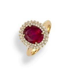 anello ovale rubino oro rosa e diamanti Namuri