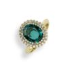 anello smerldo ovale con contorno di diamanti Namuri