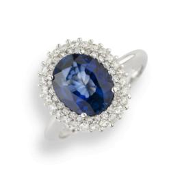 anello ro bianco con zaffiro ovale e diamanti namuri