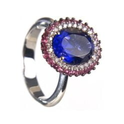 anello iolite e tormalina rosa