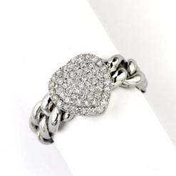 Anello Oro Bianco 18 Kt (Gr. 4,90) Diamanti Taglio Brillante Ct. 0,42