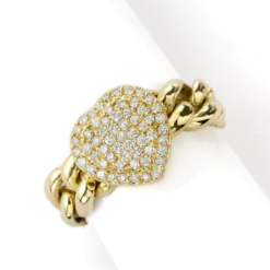 anello grumette oro giallo cuore centrale con pavè di diamanti Namuri collezione Lady