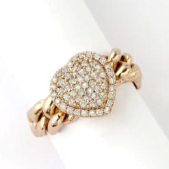 anello grumette oro rosa cuore centrale con pavè di diamanti Namuri collezione Lady