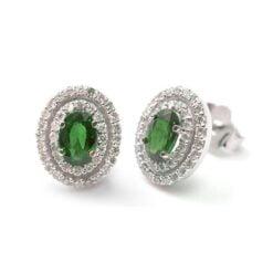 Orecchini smeraldo taglio ovale e diamanti