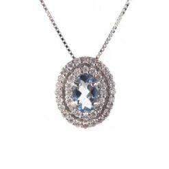 Collana con pendente acquamarina namuri acqua marina e diamanti