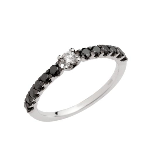 Veretta diamanti neri e bianco in oro bianco Collezione Primo amore Namuri Diamanti neri : 0.26 Ct diamante bianco: 0.09Ct