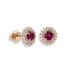 orecchini rubini tondi oro rosa e diamanti Namuri