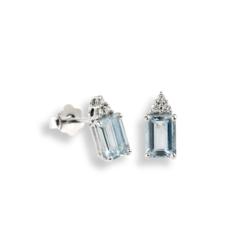 orecchini acquemarine e diamanti taglio smeraldo Namuri