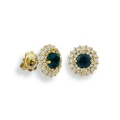 Smeraldi Orecchini in Oro Giallo (Gr. 3,00) Con doppio giro Diamanti Ct. 0,80 e Smeraldi ricostruiti Round Cut Ct. 1,00.