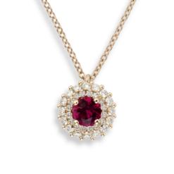 collana oro rosa con pendente rubino tondo e diamanti namuri