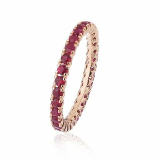 Anello fedina giro rubini in oro rosa De Stefano