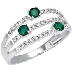 anello smeraldi e diamanti Bliss