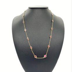 coillana castoni rubini e oro rosa
