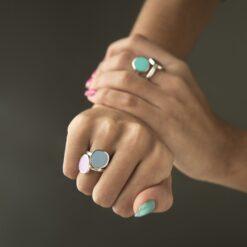anello argento smalto cielo Cuori & Frecce