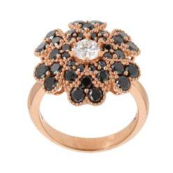 anello fiore diamanti neri