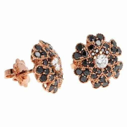 orecchini fiore diamanti neri