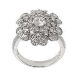 anello fiore oro bianco