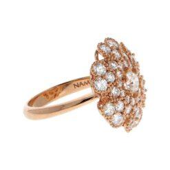anello fiore oro rosa e diamanti laterale