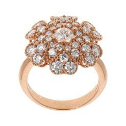 anello fiore oro rosa e diamanti