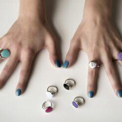 anello argento smalto glicine cuori & frecce