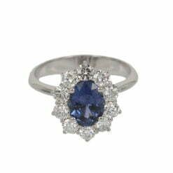 anello kate diamanti e zaffiro centrale