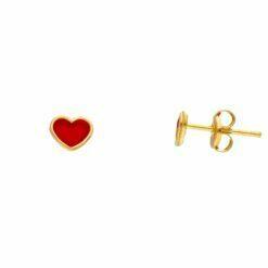 orecchini cuore smaltato oro giallo